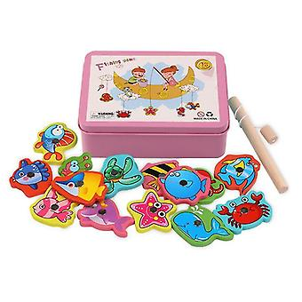Iron Box Fishing Wooden Magnetic Game Educational Games Puzzle Jigsaw Kids Baby Gifts Toy |Magnetic