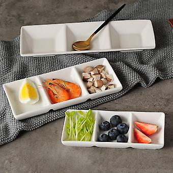 3 Grid Seasoning Dish Ceramic Sauce Pan Bowl Plate Set Kitchen Restaurant Household Soy Sauce Dish