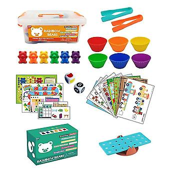 Rainbow counting bears toys for kids with sorting cups mz662