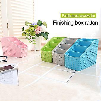 Multifunctional Imitation Rattan Narrow Type 4-compartment Storage Box