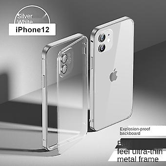 Suitable For Iphone 12 Pro Metal Frame Mobile Phone Case Frosted Transparent Pc All-inclusive Protective Cover