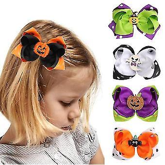 5 Kpl Lapset Halloween Karnevaali Hauska Otsapanta Double Color Bow Side Clip
