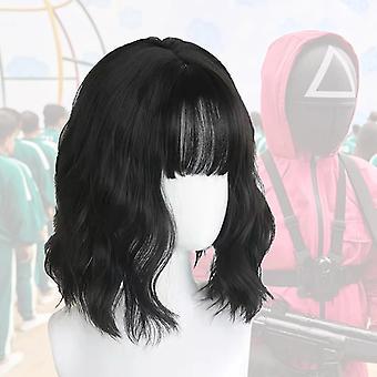 Squid Game Cosplay Wig 067 Kang Sae Byeok Black Short Curls Hair Girls
