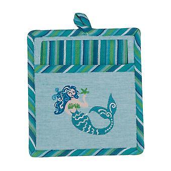 Mermaid Coastal Embroidered 2 Piece Pocket Mitt with Tea Towel Kitchen Gift Set