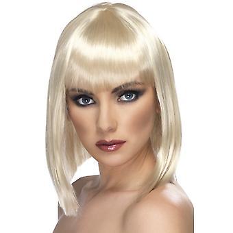 Glam, korte, afrundede paryk, blond med pandehår