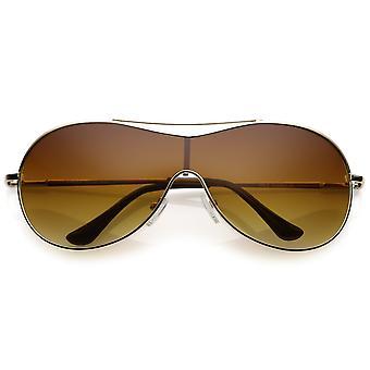 Gafas de sol futurista escudo de Metal de gran tamaño con barra transversal Mono lente 75mm