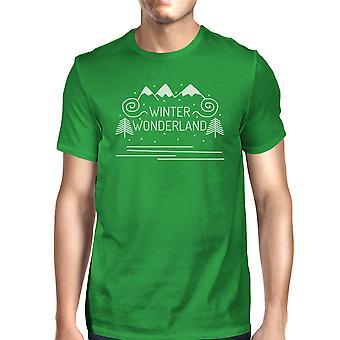 冬のワンダーランド メンズ暗い緑のクルーネック t シャツ プレゼント