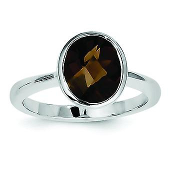 925 zilver Smokey Quartz Ring-Ring grootte: 6 tot en met 9