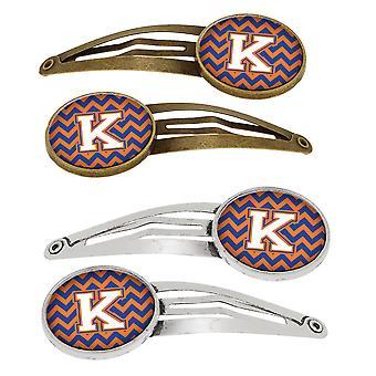 Letter K Chevron blauwe en oranje #3-Set van 4 haarspeldjes Hair Clips