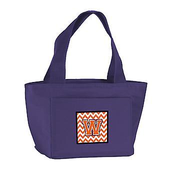 Letter W Chevron Orange and Regalia Lunch Bag
