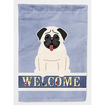 Carolines Treasures  BB5585CHF Pug Cream Welcome Flag Canvas House Size