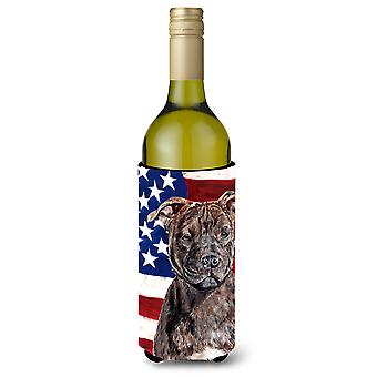 Staffordshire Bull Terrier Staffie with American Flag USA Wine Bottle Beverage I