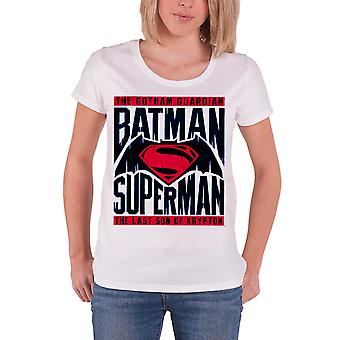 Batman T Shirt Logo new Official DC Comics Womens Skinny Fit White