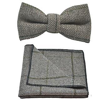Lyxiga ljus Khaki mörkbrun fiskbensmönster kontrollera fluga & Pocket Square Set, Tweed