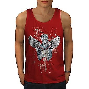 Evil Angel Gun Fantasy Men RedTank Top | Wellcoda
