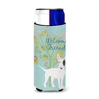 Welcome Friends White Patched Bull Terrier Michelob Ultra Hugger for slim cans