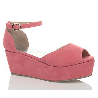 Ajvani kvinners lav midt kilehæl blokk kile plattform flatform sandaler.