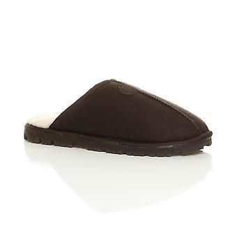 Bordée de fourrure de hiver Ajvani mens talon plat faible mémoire mousse luxe cadeau mules pantoufles