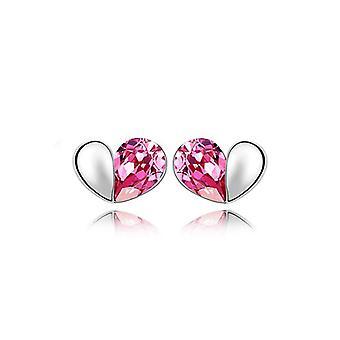 Donna rosa design amore cuore Stud orecchini cristallo argento gioielli presenti