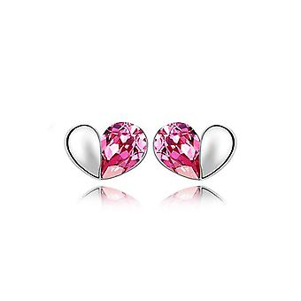 Womens rosa Designer Love Heart Stud Ohrringe Kristallsilber Schmuck vorhanden