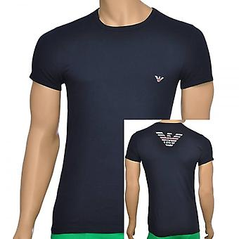Emporio Armani Eagle coton Stretch Crew Neck T-Shirt, Marine, X Large