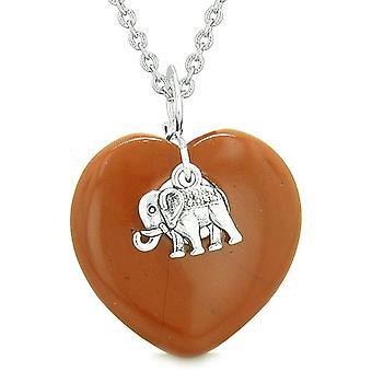 Lucky Elephant charmia Amulet pöhöttynyt Magic valtuudet sydän punainen Jasper riipus 18 tuuman kaulakoru