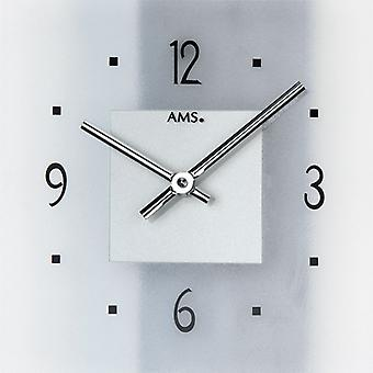 AMS wall clock 9245 quartz schist structure with aluminium applications mineral glass