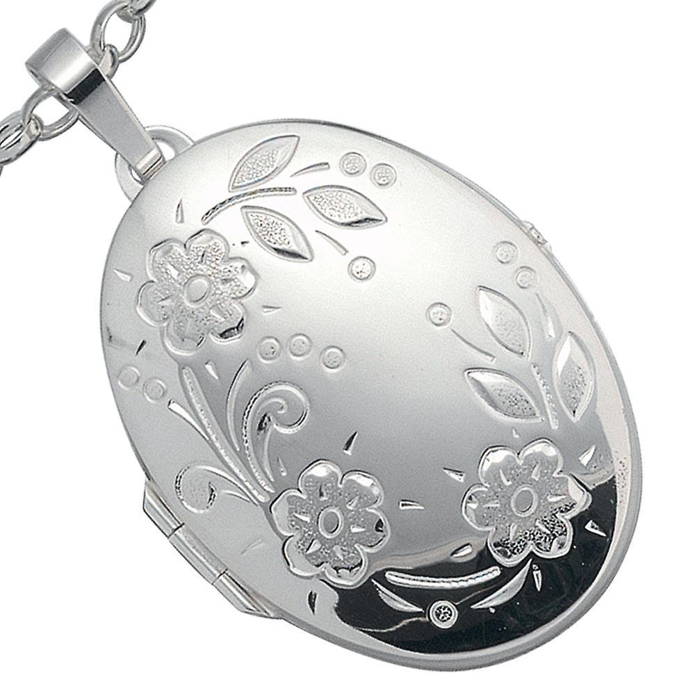 Medaillon 925/-S Medaillon silber mit Blumen silbernes Medaillon