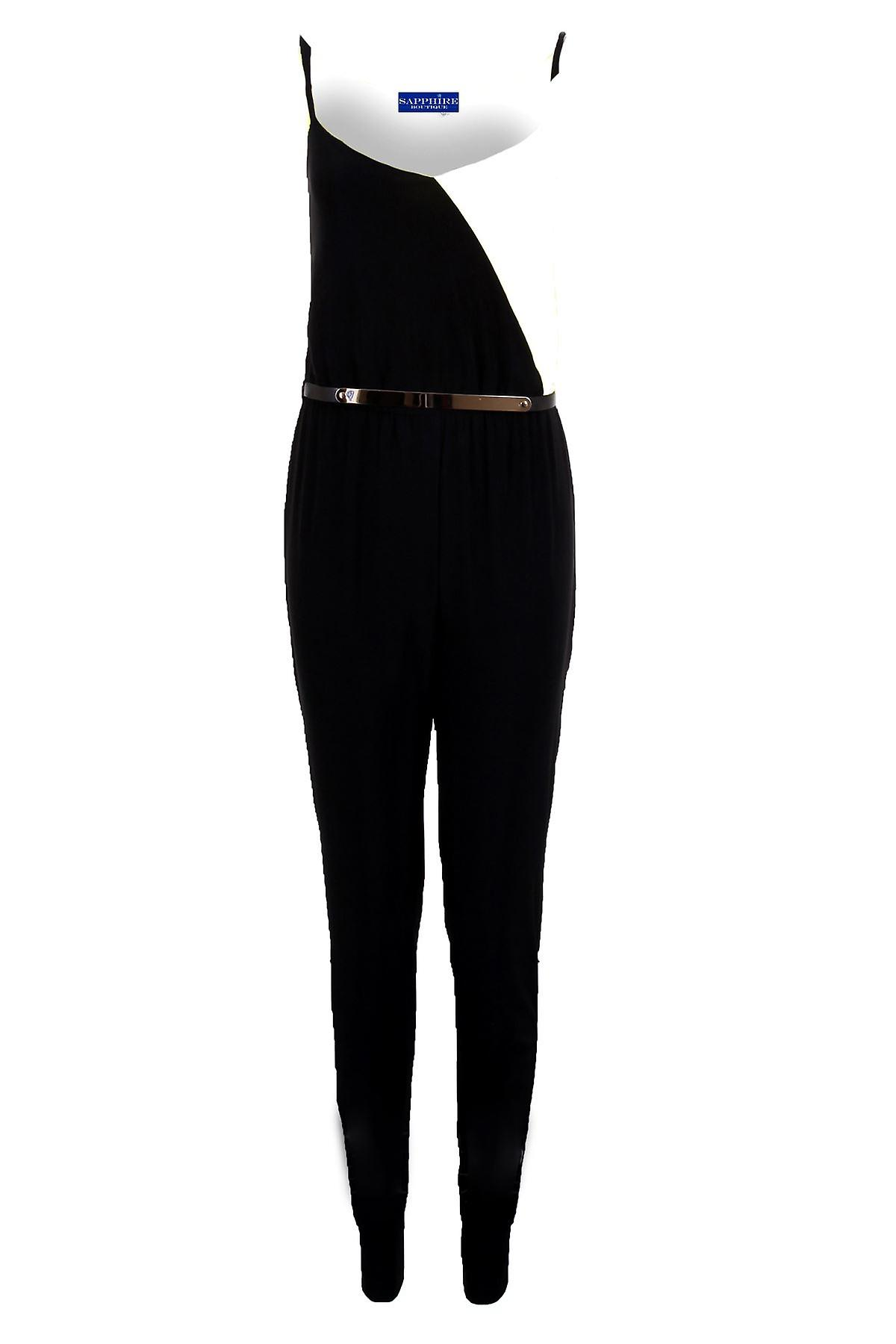 Ladies Sleeveless Strappy Black Contrast Belted All In One Women's Party Jumpsuit