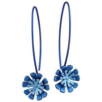 Ti2 טיטניום דאבל Ten כותרת פרח להוריד עגילים-כחול