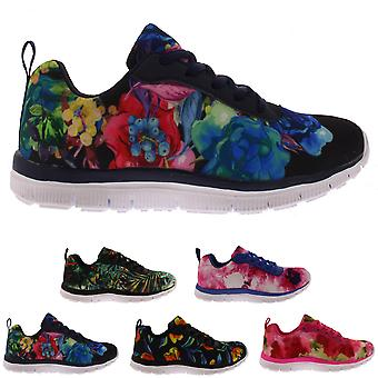 Womens Get Fit Walking Running Vibrant Floral Lightweight Yoga Trainers UK 3-10