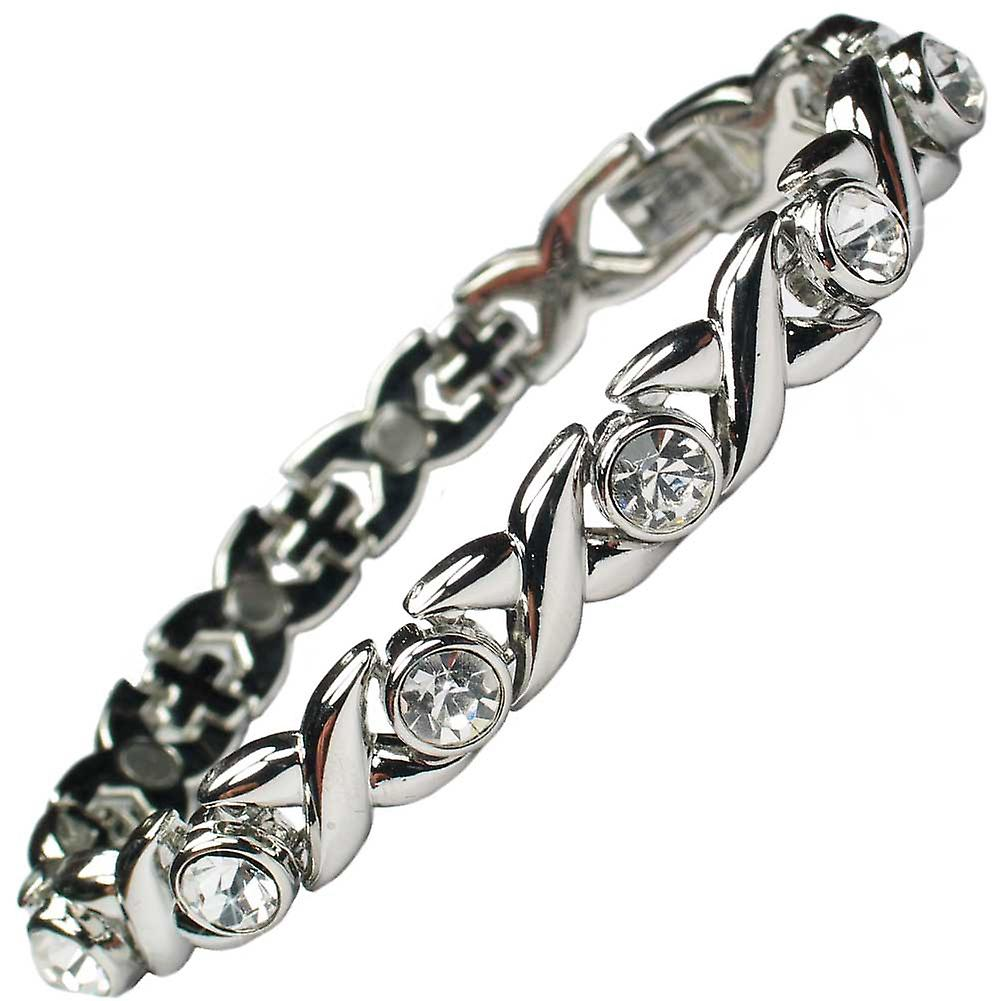 MPS® JAMAIN Magnetic Bracelet With Clear Crystals for Women + Links Removal Tool
