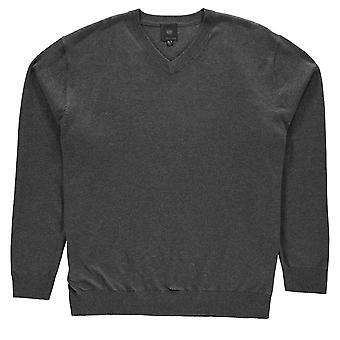 Fusion Mens V Neck Sweatshirt Crew Sweater T Shirt Top Jumper Pullover Long