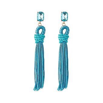 GEMSHINE örhängen blå tofsar Crystal studs guldpläterade örhängen