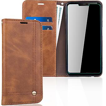 Cell phone cover case voor LG G7 cover Wallet case Brown