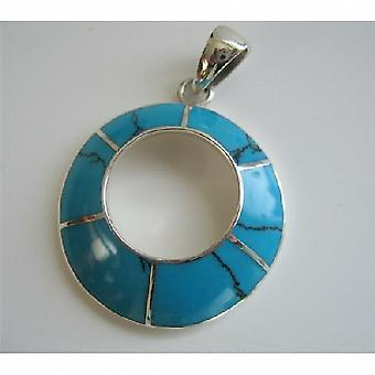 Round Turquoise Blue Turquoise Sterling Silver Round Pendant