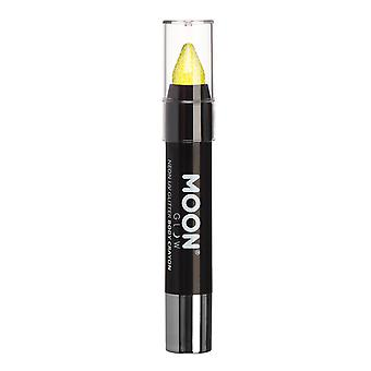 Moon Glow - Neon UV Glitter Face Paint Stick / Body Crayon makeup for the Face & Body - Yellow - Glows brightly under UV lighting