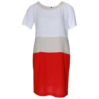 Vlt's By Valentina's Block Colour Short Sleeve Linen Dress