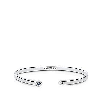 Winnipeg Jets Engraved Sterling Silver White Sapphire Cuff Bracelet