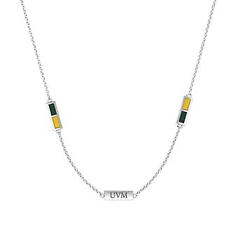 University Of Vermont Sterling Silver Engraved Triple Station In Necklace Green and Yellow