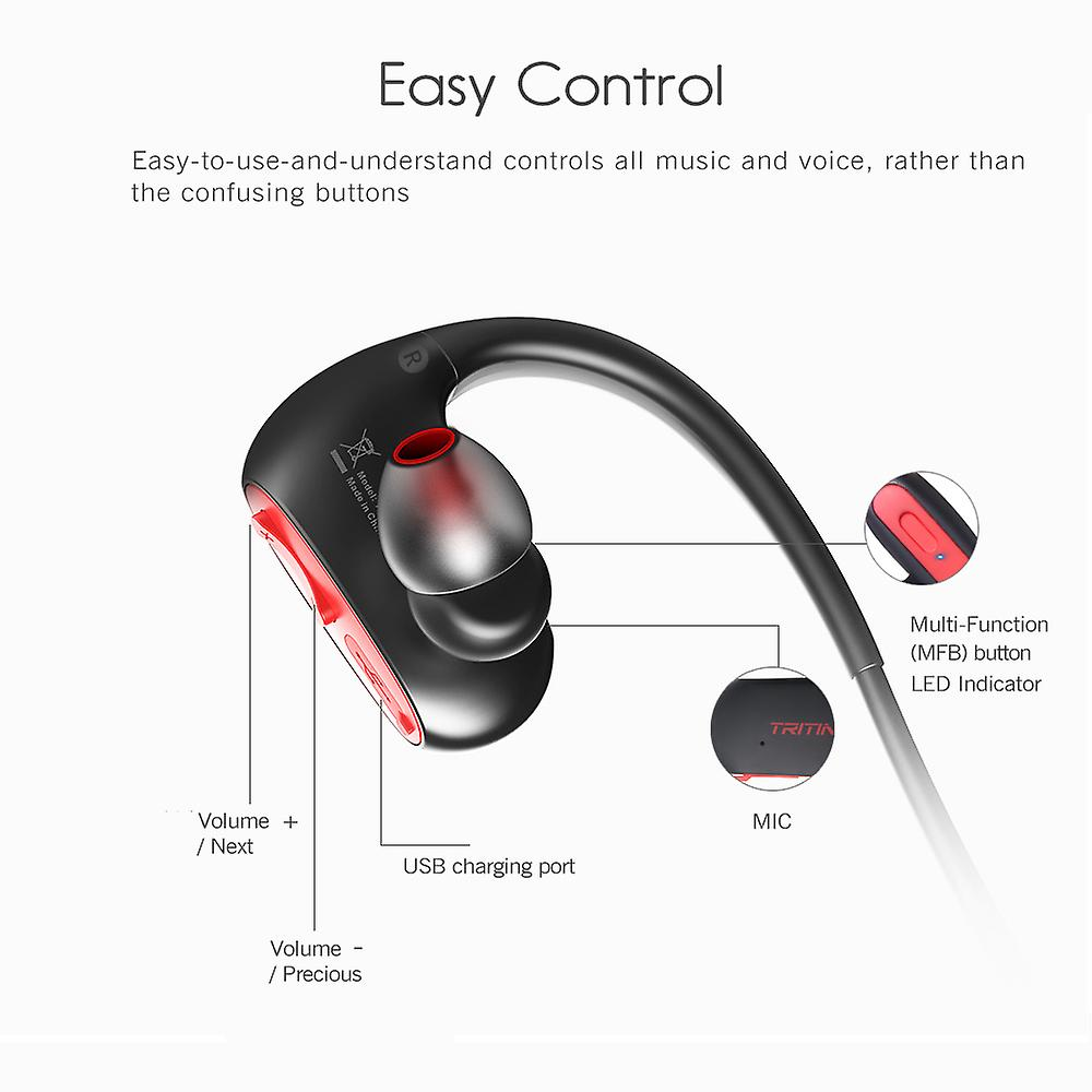 Tritina Bluetooth Earbud Headphones Waterproof - Designed for Sports Comfort & Secure Fit - Sweat Resistant, IPX7 Earphone w/ - HD Stereo with Mic, Improved Battery 7-9 Hrs