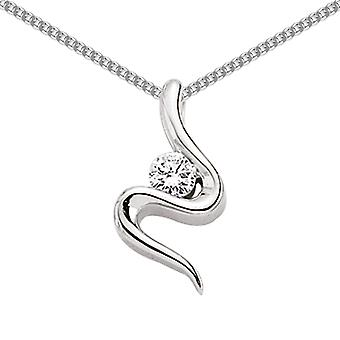 Jewelco London Rhodium Plated Sterling Silver Round Brilliant Cubic Zirconia Snake Twirl Charm Necklace 18 inch