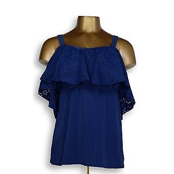 Denim & Co. Swimsuit Beach Off the Shoulder Tankini Top Navy Blue A303949