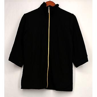 Quacker Factory Blazer Good as Gold Zip Front Black A278193