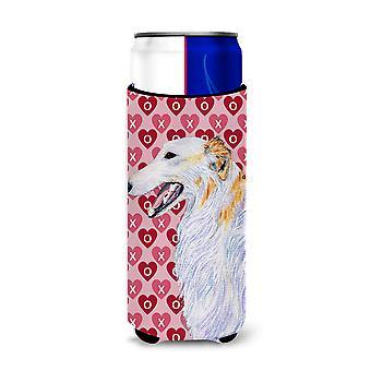 Borzoi Hearts Love and Valentine's Day Portrait Ultra Beverage Insulators for sl