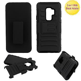 ASMYNA svart/svart avancerad Armor Stand Protector Cover w/hölster för Galaxy S9 plus