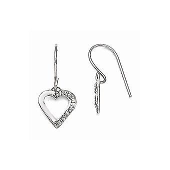 14k White Gold Dangle Polished Shepherd hook Diamond Fascination Love Heart Earrings Measures 20x10mm Jewelry Gifts for