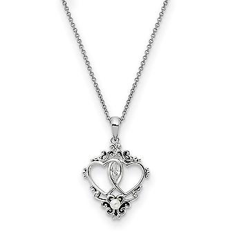 925 Sterling Silver Polished Spring Ring Freshwater Cultured Pearl CZ Cubic Zirconia Simulated Diamond Love Heart Neckla