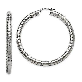 Stainless Steel Textured and Polished Hollow 45mm Hoop Earrings Jewelry Gifts for Women