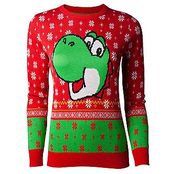 Yoshi Christmas Jumper Super Mario new Official Nintendo Womens Skinny Fit